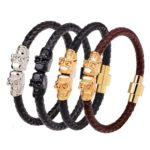 Leather-Magnetic-Clasp-Wrap-Skull-Rope-Braided-Bracelet