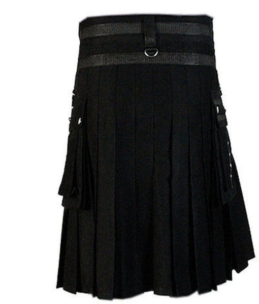 black kilt, deluxe kilt, black deluxe kilt, kilt for men, mens kilt