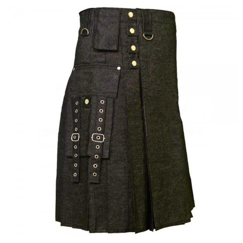 denim kilts, kilt for men, mens kilt, denim kilts for men, black denim kilt, tactical pockets denim kilt