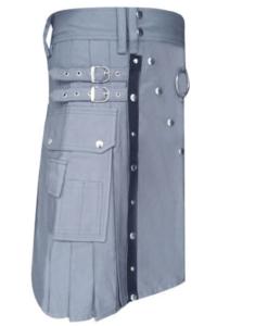utility kilt, kilt for men, grey kilt, grey utility kilt