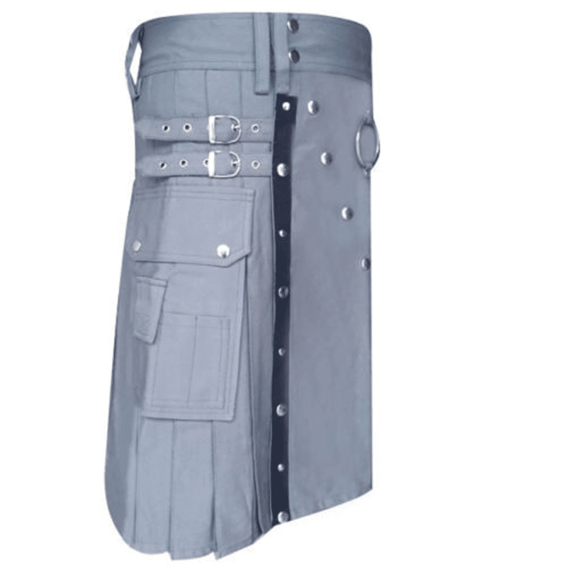 utility kilt, kilt for men, grey kilt, grey utility kilt, plain utility kilt, kilt and jacks