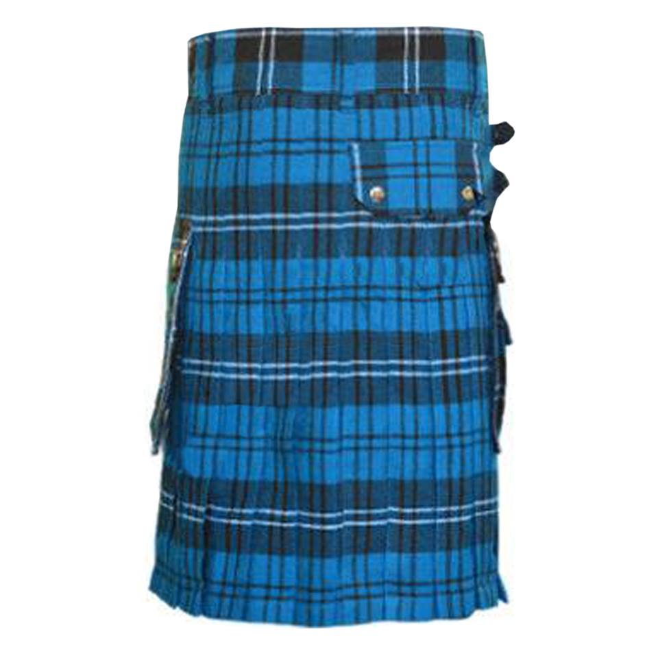 Men's Scottish Kilt Fly Plaid Ramsay Blue Tartan Purled ...