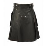 Black-Studded-Leather-Kilt-for-Men-front