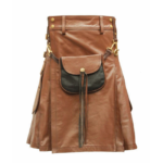 Brown-Leather-Kilt-with-Sporran-Front