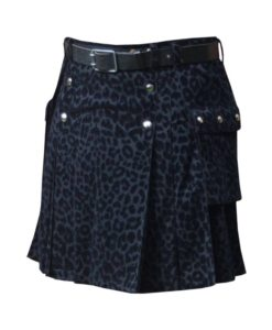Black kilt, Black leopard kilt, Black kilt for men, Black Leopard kilt for men,
