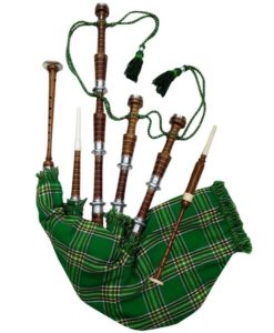Rosewood Irish National Tartan Bagpipe, Irish national tartan bagpipe, Irish Bagpipe, Irish Tartan Bagpipe