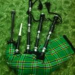 Rosewood-Irish-National-Tartan-Bagpipe-Black