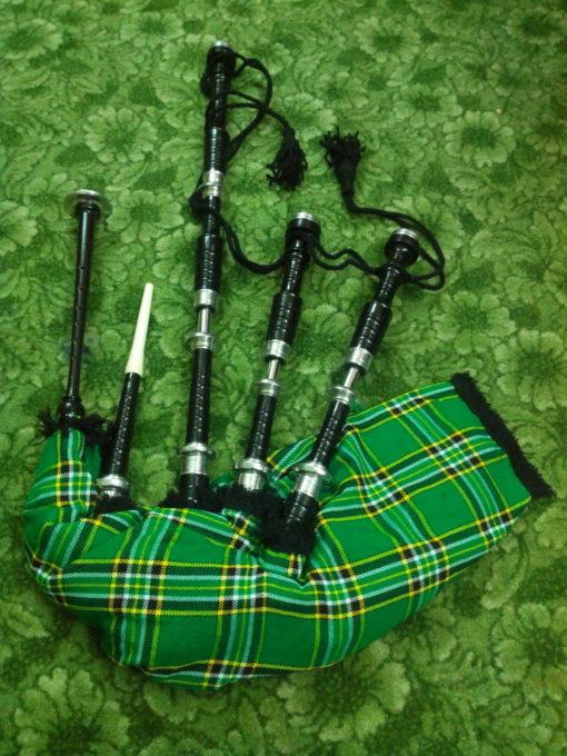 Rosewood Irish National Tartan Bagpipe black, black bagpipe, black bagpipe for sale