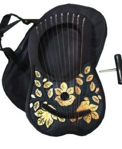 Rosewood lyre harp, rosewood harp, rosewood lyre, lyre harp golden