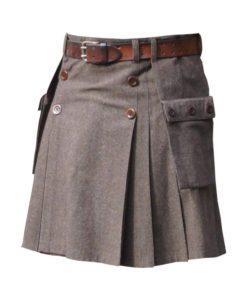 Wool buttoned kilt, wool kilt, wool brown kilt, wool kilt