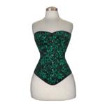 Flower-Brocade-Overbust-Cotton-Corset-Green