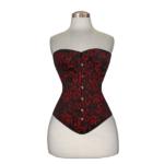 Flower-Brocade-Overbust-Cotton-Corset-red