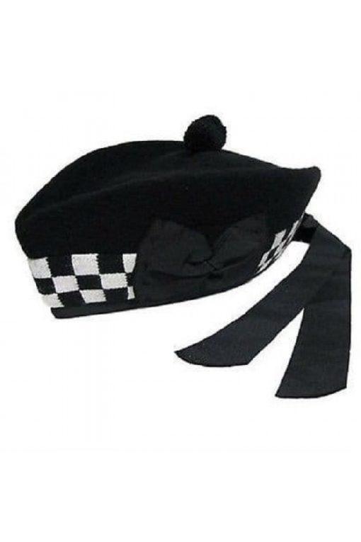 black hat, glengarry hat, kilt and jacks hats