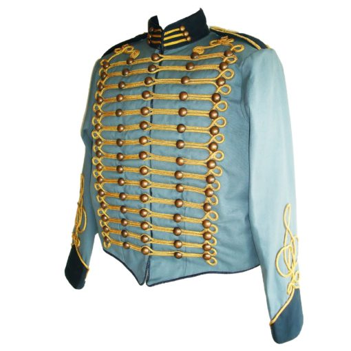 blue steampunk military jacket, military jacket, parade jacket, military parade jacket, blue parade jacket