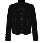 Embroidered-Single-breasted-Gothic-Velvet-Jacket-black