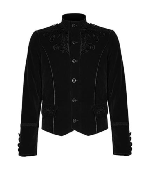 Embroidered Single Breasted Gothic velvet jacket which is designed and made for you specially. It has button closure and looks very dope. This velvet gothic jacket comes in black color.