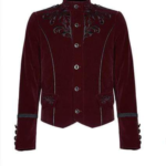 Embroidered-Single-breasted-Gothic-Velvet-Jacket-red