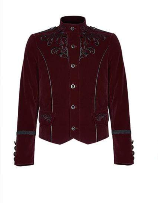 Embroidered Single Breasted Gothic velvet jacket which is designed and made for you specially. It has button closure and looks very dope. This velvet gothic jacket comes in red color.