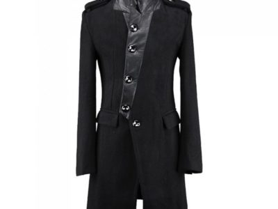Numinous Black wool trenchcoat is made from high quality wool and 100% genuine leather. There are two shoulder epaulets. It is a button closure coat.