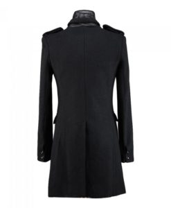 Numinous Black wool trenchcoat is made from high quality wool and 100% genuine leather. There are two shoulder epaulets. It is a button closure coat. This is the back of this coat.