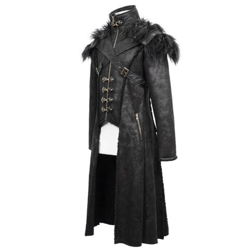 Numinous Gothic Fur Coat is made from premium quality fur and leather. It comes with a vest. It is one of the best gothic coats from Kilt and Jacks. It is the side pose of the coat.