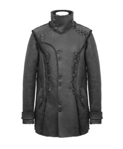 Punk Stand collar ropes coat for men which is purely custom. You should get this punk coat right away.