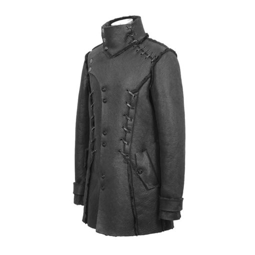 Punk Stand collar ropes coat for men which is purely custom. You should get this punk coat right away. It is the side-pose of the jacket.