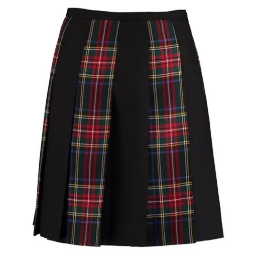 It is a striped Tartan pleated skirt where we have used Black Stewart tartan and black fabric alternatively.