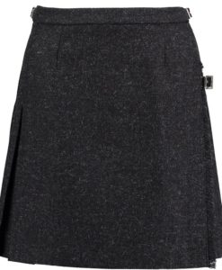 Tweed Mini Kilt for Women made up of black tweed.