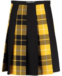 It is a striped Tartan pleated skirt where we have used Macleod of Lewis and black fabric alternatively.
