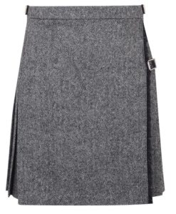 Tweed Mini Kilt for Women made up of grey tweed.