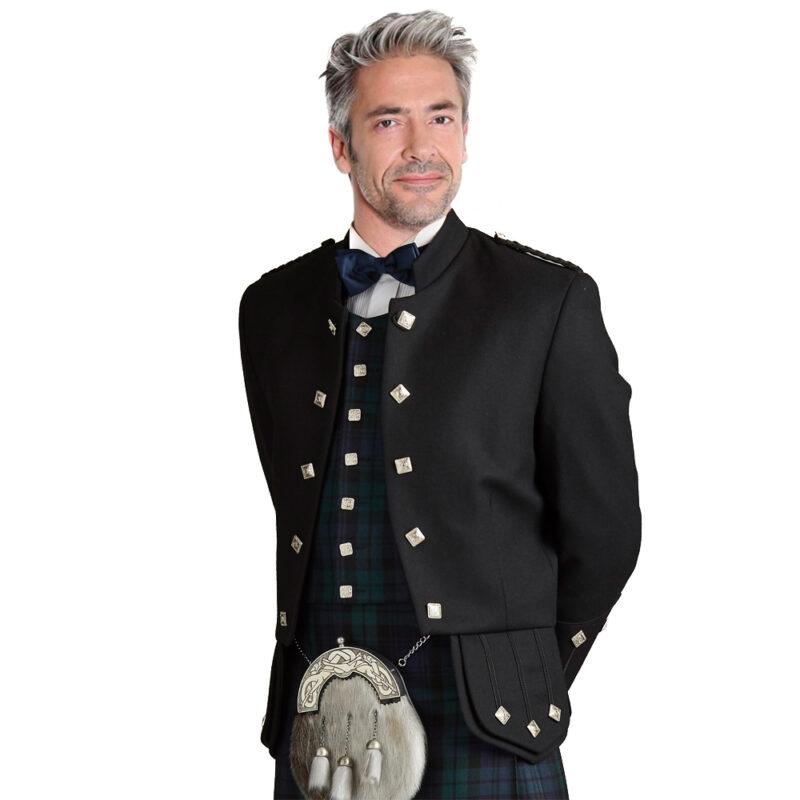 Black Sheriffmuir Highland Kilt Jacket for Men available in many colors