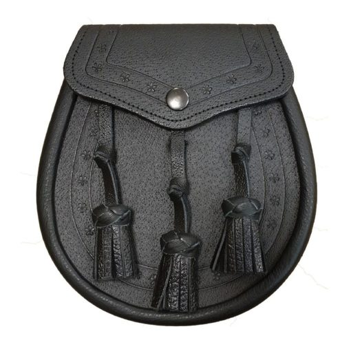 Leather Day Sporran with Embossed Design. Black Color