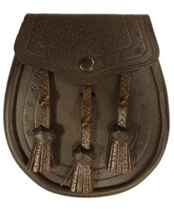 Leather Day Sporran with Embossed Design. Brown color.
